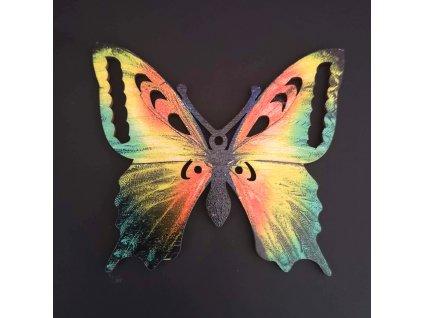 Dřevěná dekorace motýl oranžový 9 cm