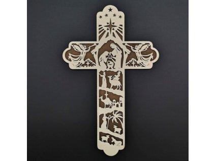 Dřevěný kříž s motivem betléma 25 cm