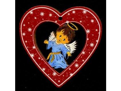 Dřevěná ozdoba barevná srdce s andělem 6 cm