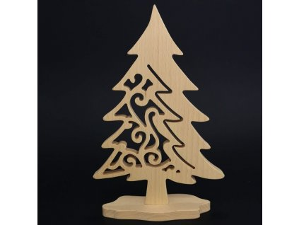 Dřevěný 3D strom jehličnatý s prořezem, masivní dřevo, výška 21 cm