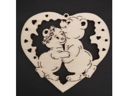 Dřevěná ozdoba srdce s medvídky 15 cm