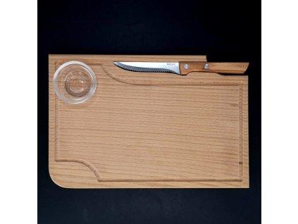 Dřevěné prkénko na steak s nožem a miskou, masivní dřevo, 30x20x1,5 cm