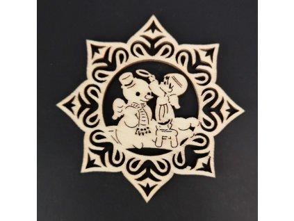 Dřevěná ozdoba hvězda se sněhulákem a andělem 6 cm