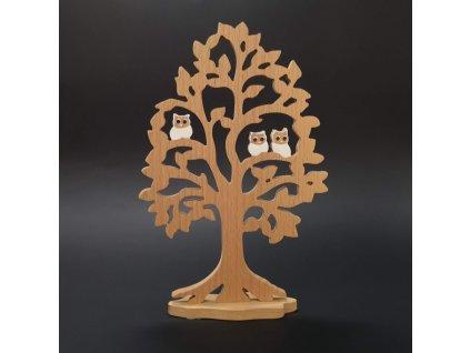 Dřevěný strom s bílými sovami 25 cm