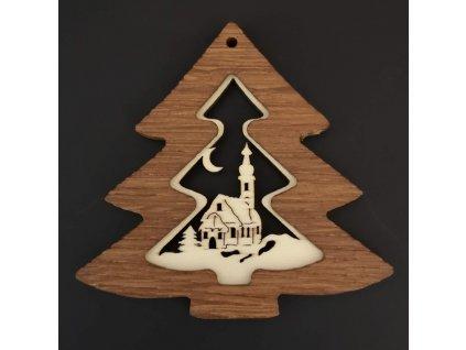 Dřevěná ozdoba z masivu s vkladem - stromek s kostelem 8 cm