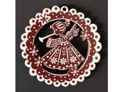 Dřevěná ozdoba perníček tmavý - anděl 6 cm