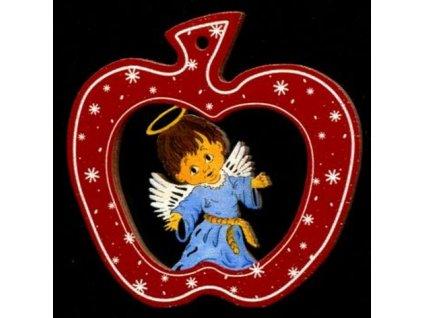 Dřevěná ozdoba barevná jablko s andělem 6 cm