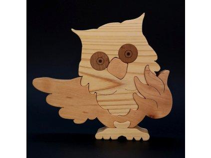 Dřevěné puzzle sova, masivní dřevo dvou druhů dřevin, 22,5x19,5x3 cm
