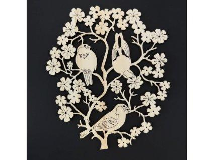 Dřevěná dekorace květina s ptáčky 22 cm