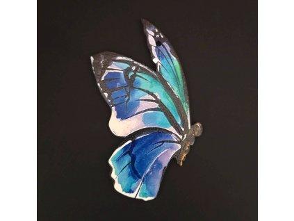 Dřevěná dekorace motýl modrý 9 cm