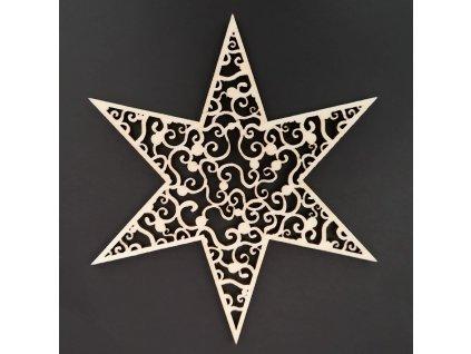 Dřevěná ozdoba hvězda s ornamentem 9 cm