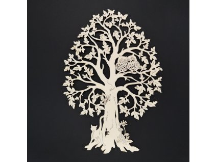Dřevěný strom se sovami, přírodní závěsná dekorace, výška 28 cm