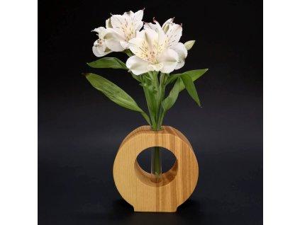Dřevěná váza kulatá s otvorem, masivní dřevo, výška 11 cm