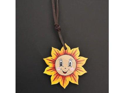 Dřevěný přívěsek na krk slunce, 4,5 cm