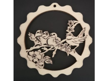 Dřevěná ozdoba vlnka s ptáčky 8 cm