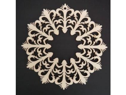 Dřevěná ozdoba květinový ornament 10 cm