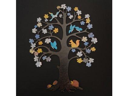 Dřevěný strom s motýlky, barevná dekorace k zavěšení, výška 37 cm