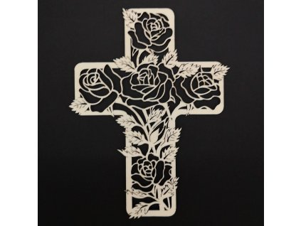 Dřevěný kříž s motivem růže 20 cm