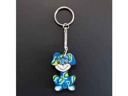 Klíčenka pes modrý 4 cm