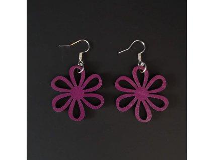 Dřevěné náušnice květina fialová, 3 cm