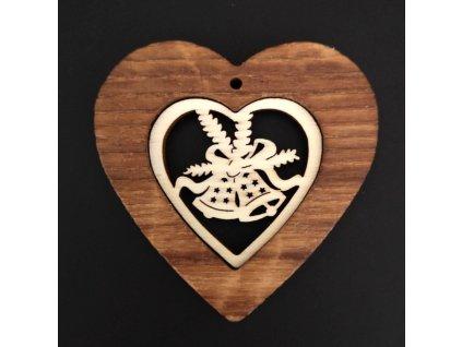 Dřevěná ozdoba z masivu s vkladem - srdce se zvonky 7 cm