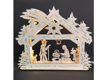 Dřevěný svítící portál s motivem betléma, 28 cm
