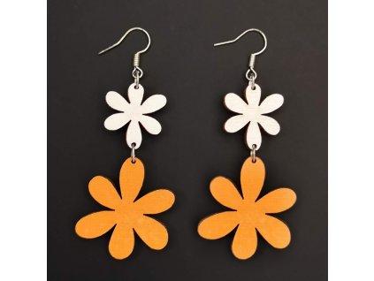 Dřevěné náušnice květiny bílá a oranžová, 5 cm