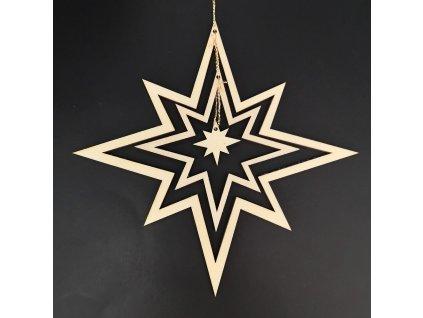 Dřevěná ozdoba 3D hvězda 17 cm