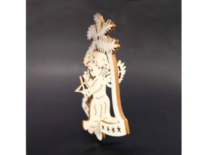Dřevěná ozdoba 3D zvonek - anděl s trianglem 9 cm