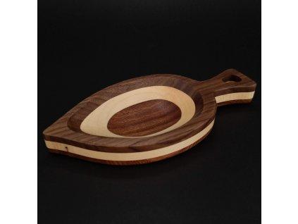 Dřevěná miska mozaika ve tvaru listu, masivní dřevo, 3 druhy dřevin, rozměr 22x10,50x2,50 cm