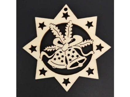 Dřevěná ozdoba hvězda se zvonky 9 cm