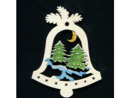 Dřevěná ozdoba barevná zvonek se stromy 9 cm