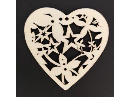 Dřevěná ozdoba srdce s ornamentem 6 cm