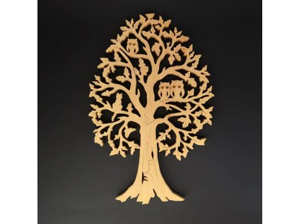 Dřevěný strom se sovami a kočkou, masivní dřevo, výška 40 cm