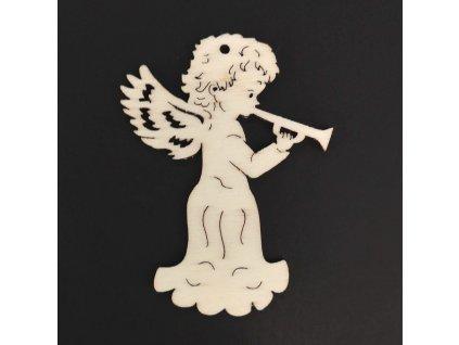 Dřevěná ozdoba anděl s trubkou 9 cm
