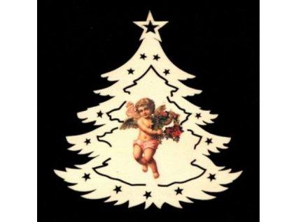 Dřevěná ozdoba barevná stromek s andělem 12 cm