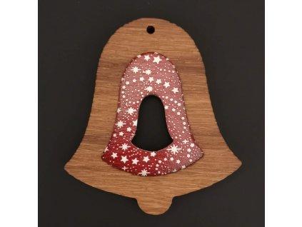 Dřevěná ozdoba z masivu s barevným vkladem - zvonek s hvězdami 8 cm
