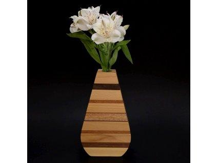 Dřevěná váza s vodorovnými pruhy, masivní dřevo čtyř druhů dřevin, výška 23 cm