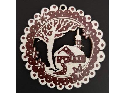 Dřevěná ozdoba perníček tmavý - kostel 6 cm