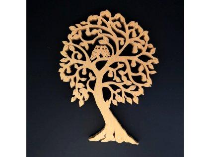Dřevěný strom se sovami, masivní dřevo, výška 24 cm