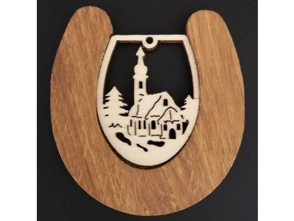 Dřevěná ozdoba z masivu s vkladem - podkova s kostelem 8 cm