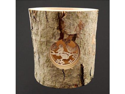 Svícen z kůrového kmenu s vkladem - ptáčci 12 cm