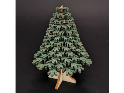 Dřevěný 3D stromek zelený 10 cm