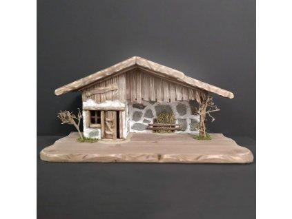 Dřevěný betlém šedohnědý BEZ FIGUREK 54 cm