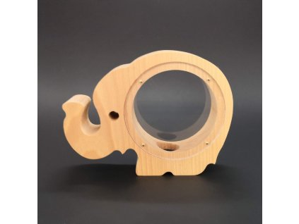 Dřevěná kasička slon