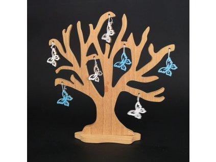 Dřevěný 3D strom s barevnými motýlky, masivní dřevo, výška 20 cm