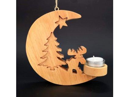 Dřevěný svícen na zavěšení ve tvaru měsíce