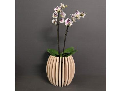 Dřevěný obal na květináč sud z masivního dřeva, 22 x 22 cm
