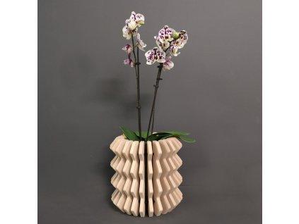 Dřevěný obal na květináč harmonika z masivního dřeva, 22 x 22 cm