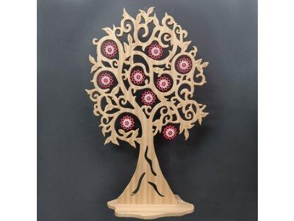 Dřevěná dekorace strom s barevnými květy, masivní dřevo, 158x98 cm